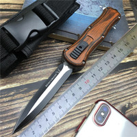 Wholesale wood handle folding knives for sale - Group buy Tactical knife Spring Assisted knives Military Fixed Blade Double Edge Combat Survival Knifes Aviation Wood handle