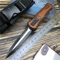 messer helfen großhandel-Taktisches Messer Federunterstützte Messer Militärklinge Double Edge Combat Survival Knifes Aviation Holzgriff