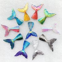 resina para decoração diy venda por atacado-28 * 39mm AB cor acessórios Jóias Sereia escamas de Peixe cauda resina DIY festival decoração artesanato acessórios 50 pçs / lote-E77