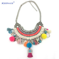 Wholesale harmony charms resale online - New Handmade Bohemian Boho Choker Necklaces Harmony Ball Colorful Pompoms Pendants Necklaces Beaded Charm Beige Necklace