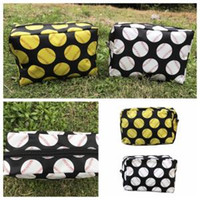 Wholesale pouch online - Baseball cosmetic bag make up bag zipper girl cluth Storage pouch Portable fashion make up bags girl travel party Bags FFA1547