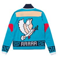 suéteres de béisbol para hombres. al por mayor-19FW Peace Pigeon Anti-War Baseball Knitting Jacket Collar Cardigan Otoño Invierno Suéter Hombres Mujeres Abrigos Street Outwear Jacket HFYMJK241