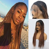 Wholesale braids for wigs for sale - Group buy Ombre Box Braided Wig Brown High Temperature Fiber Hair Two Tone Braided Box Braids Synthetic Lace Front Wigs For African American Women