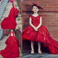 meninas vestidos de noite venda por atacado-Adorável Meninas Vermelhas Pageant Vestidos High Low Princesa Scoop Little Kids Prom Evening Vestidos de Aniversário Vestido Da Menina de Flor Com Trem