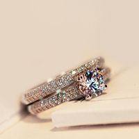 anel de pedra branca prata 925 venda por atacado-2 PCS Bamos Luxo Feminina Branco Nupcial Wedding Ring Set Moda 925 Prata Cheia Jóias Promessa CZ Pedra Anéis de Noivado Para As Mulheres