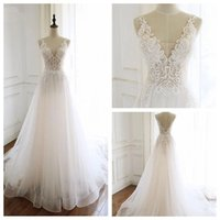 Wholesale belle wedding dresses resale online - Impressive V Neck White Tulle Wedding Dresses A Line Low V Back Bridal Gown Sweep Train Belle Lace cheap wedding dresses
