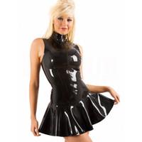 ingrosso costumi polo-S-XXL Sexy in lattice di PVC con effetto bagnato Vestito senza maniche con cerniera Bodycon Catsuit Bondage con costume Clubwear Pole Dance