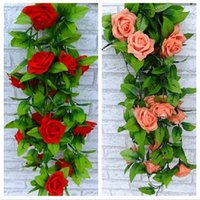 vides falsas de rosa al por mayor-Artificial Rose Silk Flower Vine Green Leaf Vine Garland Home Wall Party Decoraciones de boda Planta falsa
