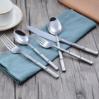 Wholesale piece flatware resale online - 30pcs Creative handle flatware set color knife fork spoon piece suit cutlery set high grade stainless steel dinnerware tableware