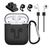 cableado de auriculares de iphone al por mayor-Funda protectora de silicona para la venta caliente Funda para audífono Funda protectora de audífono anti-pérdida de audífonos inalámbricos para Apple AirPods