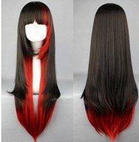 uzun kırmızı anime peruk toptan satış-ÜCRETSIZ NAKLIYE + + Yeni Uzun Charm Lolita Kırmızı Siyah Kırmızı Karışık Düz Anime Cosplay Parti peruk