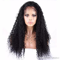Wholesale big virgin black lady online - Curly Human Hair Full Lace Wig Glueless With Baby Hair Virgin Brazilian Lace Front Wigs Curly For Black Women