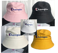 sommer-floppy-hut großhandel-Champion Bucket Hat Letters Sommerhut Fisherman Hats Damen Herren hot ins Sonnenschutz Lässige Soft Floppy Hat 6 Color B73001