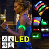 Wholesale silicone sport shoes resale online - Led Silicone Reflective Armband Light Night Safety Warning Sports Night Running Shoe Safety Clips light Bracelet Party Favor GGA3123