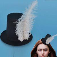 Wholesale women party clip hats for sale - Group buy Women Feather Mini Top Hat Hair Clip Punk Gothic Headbands Headwear Hair Festive Party Christmas Halloween navidad