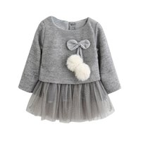 Wholesale cute fall dresses resale online - Cute Toddler Princess Dress Pretty Toddler Kids Baby Girl Long Sleeve O Neck Floral Belt Lace Tutu Dress Outfit Fall Party