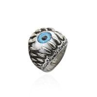 ejderha göz halkaları toptan satış-Yeni Varış Paslanmaz Çelik Gotik Biker Ejderha Pençesi Nazar Yüzük Mavi Göz Yüzük Kadınlar için