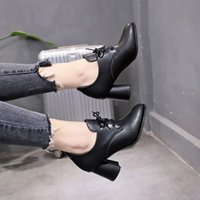 ingrosso scarpe da donna delle scarpe da donna-Scarpette da donna con tacco grosso e tacco alto Scarpe da donna Scarpa da donna con tacco largo da donna Stivali freddi Martin Scarpe con tacco alto e appuntito scarpe di pelle
