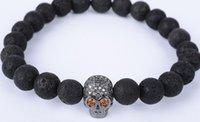 pulseiras de ouro buda venda por atacado-8mm cn54365 prata ouro crânio de cobre micro pavimentar zircão cz zircônia cúbica Pulseira preta vulcânica pedra de lava Buddha Yoga Pulseiras