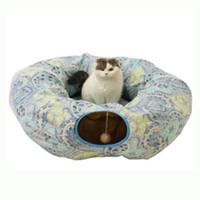 tubos para mascotas al por mayor-Funny Pet Cat Tunnel Toys Canal Rolling Nest Tubes Plegable Crinkle Kitten Juguetes Puppy Hurones Conejo Jugar Dog Tunnel Tubes