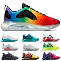 aydınlatılmış ayakkabılar toptan satış-Nike Air Max 720 Mens Kadınlar Koşu Ayakkabı BE BEYAZ Sarı Üçlü Siyah Beyaz Hiper Mavi Volt Erkekler Tasarımcı Eğitmenler Spor Sneaker ...