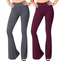 брюки с высокой талией оптовых-Women Solid High Waisted Broad Legged Yoga Pants Ladies Tight And Elastic Pants  leggings depo comperssion erings