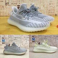 Wholesale plaid sneakers mens resale online - HOT V2 M Reflective Static Mens Running Shoes Kanye West Women Fashion luxury trainers Sport Athletics outdoor Sneakers Size