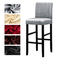 Velvet Plush Bar Chair Cover Elastic High Stool Chair Protector Seat Cover Slipcover for Hotel Banquet Wedding Party Dining Room
