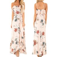 Wholesale sexy big womens dresses for sale - 2019 new style womens suspender dress sexy halter retro flower dresses big swing skirt womens clothes summer maxi dress size with s xxl