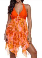 plaj kıyafeti kadınlar toptan satış-Toptan Avrupa ve Amerikan Sıcak Satış Düzensiz Hem Tarzı Plaj Kadın Giysileri Iki Parçalı Setleri Mayo Seksi Yelek Çiçek Desen yüzmek Etek