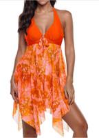 ingrosso costumi da bagno caldi per le donne-Vendita all'ingrosso europeo e americano di stile irregolare Hem Beach Vestiti da donna Due pezzi Set costume da bagno Sexy Gilet Swimwear modello floreale