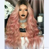 pelucas delanteras de encaje peines al por mayor-Moda rizado ombre rosa sintético sin cola peluca delantera del cordón corto raíces oscuras combsstraps para dama mujer