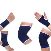 soporte de tobillo azul al por mayor-1 par Elasticated Blue Knee Pads Rodillera Soporte Brace Pierna Artritis Lesión Gimnasio Manga Elástica Vendaje Tobillo Brace Support # 71073