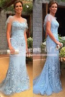 Wholesale dresses for mothers bride resale online - 2019 Blue Sheath Mermaid Mother of the Bride Groom Dresses Cap Sleeves Party Evening Dress Appliques Sweep Train for Bridal Guest