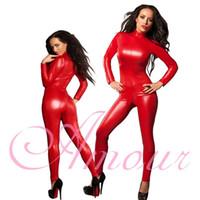 Wholesale womens leather jumpsuit resale online - Sexy Womens PVC Faux Leather Zipper Catsuit Red Clubwear Bodysuit Jumpsuit Party fancy dress Costume p040 S L