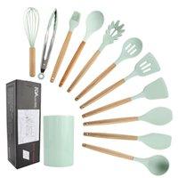 Wholesale silica kit for sale - Group buy Barrel Fresh Green Wooden Handle Silica Gel Kitchen Ware Pieces Non stick Pot Shovel Kitchenware Kit Eleven Pieces T200415