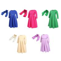 muslime mädchen schals großhandel-Mädchen muslimischen traditionellen Kleid Ramadan solide Reißverschluss Kaftans Bogen dreiteilige Anzüge Kinder Designer Kleid Hijab Schal Party Kostüm Outfits