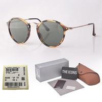 etiquetas redondas al por mayor-1pcs al por mayor - Diseñador de la marca gafas de sol redondas hombres mujeres Alta calidad uv400 lentes de vidrio gafas gafas de sol unisex con estuches y etiquetas