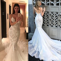 Wholesale pictures mermaid style wedding dresses resale online - Stunning Sexy Backless Wedding Dresses Mermaid Style Spaghetti Strap Lace applique sweep train Bride Dress Sweetheart Neckline