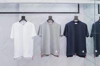 hohe kragen weiße hemden frauen großhandel-High-End-beliebtes Logo TB kurzen Schaft runden Kragen zurück rot, weiß und blau Band Mode lässig Männer und Frauen Kurzarm T-Shirt