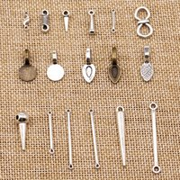 Wholesale metal pieces for jewelry resale online - 120 Pieces Metal Charms For Jewelry Making Perforated Hole Bails Beads Connector HJ230