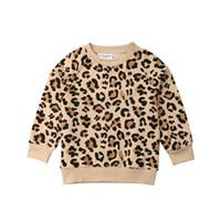 jaqueta de leopardo menina venda por atacado-2019 primavera crianças menino menina mangas compridas leopardo impressão t-shirt hoodies moletom casaco casaco de roupas de outono
