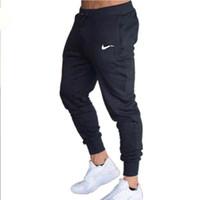 xxl moda masculina venda por atacado-2019 Novas Calças de Treino de Moda Mens Casual Calças de Algodão Sweatpants Corredores Mens Calças Ginás Roupas Plus Size XXL