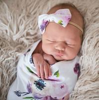 impressão de cabeça venda por atacado-6 cores cobertor do bebê recém-nascido impresso floral saco de dormir 2 pcs conjuntos com arco headbands swaddle wrap envoltório Swaddling adereços fotográficos