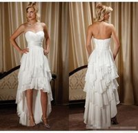 Wholesale short white beach wedding reception dresses resale online - Short Front Long Back Country Western Wedding Dresses Sweetheart Chiffon High Low Bridal Gowns Cheap Beach Wedding Reception Gowns