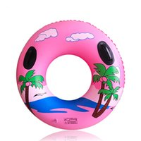 Wholesale inflatable infant swim ring resale online - Adult Inflatable Swimming Ring Infant Floating Swim Accessories Circle with Handle Water Party Toy Beach landscape
