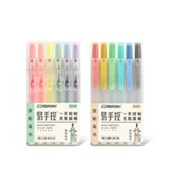 Wholesale pastel stationery resale online - 6pcs Click type Soft touch color pastel Highlight marker liner pen set Stationery Office School supplies Material escolar F464