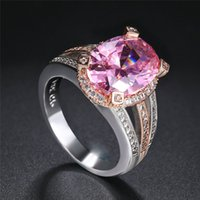 Wholesale rhodium crystal rings resale online - Classic Wedding Engagement Ring For Women Cubic Zirconia Crystal Rose Gold Color Fashion Jewelry Gift White Gold Plated R075