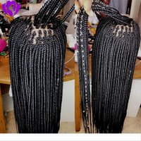 Wholesale braided frontal wig resale online - Long Black brown blonde burgundy color box braids wig free part lace frontal braids wig Synthetic Braided Front Lace Women Hair Wig