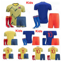 Wholesale colombia uniforms for sale - Group buy Youth JAMES Jersey Colombia Kids Soccer FALCAO DIAZ MINA CHARA MURIEL Football Shirt Kits Uniform Custom Name Number